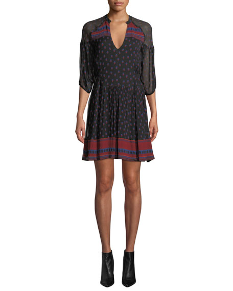 BA&SH Bailey Printed 3/4-Sleeve Mini Dress in Black