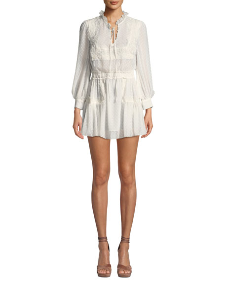 Amber Lace Tie-Neck Long-Sleeve Coverup Dress