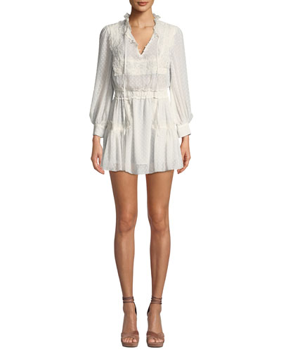 e4d0709e1945b Amber Lace Tie-Neck Long-Sleeve Coverup Dress