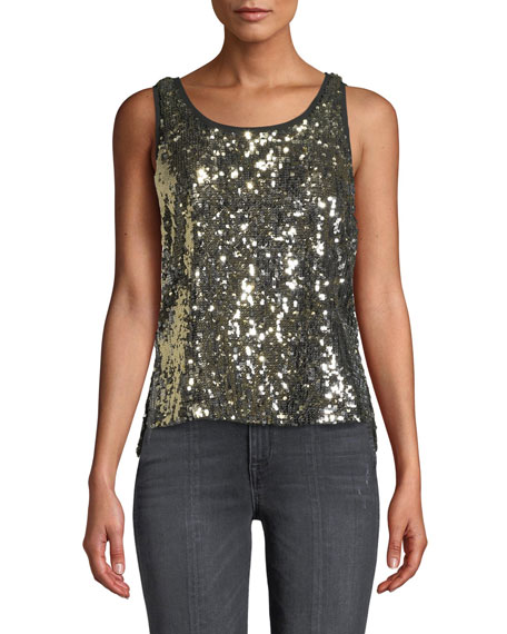 AO.LA BY ALICE+OLIVIA Emmett Sequin Tank Top in Multi Pattern
