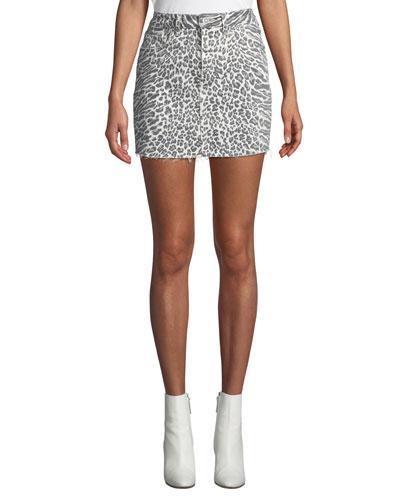 The 5-Pocket Leopard-Print Denim Mini Skirt