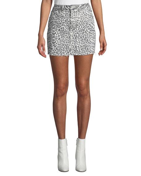 d7f7b3e8ab Current/Elliott The 5-Pocket Leopard-Print Denim Mini Skirt