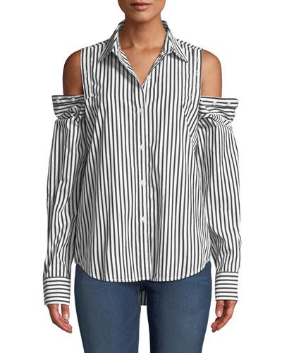 The Loretta Striped Button-Shoulder Top