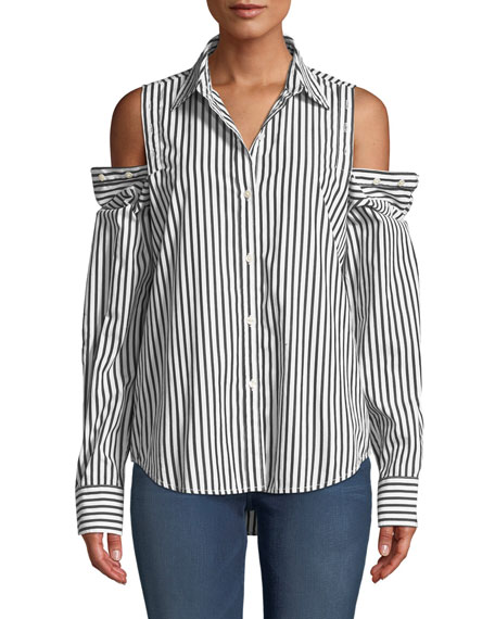 Current/Elliott The Loretta Striped Shirt in Black White Stripe