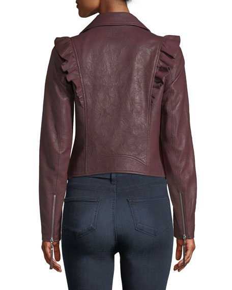 04c441341a70 PAIGE Annika Zip-Front Ruffled-Trim Lamb Leather Moto Jacket