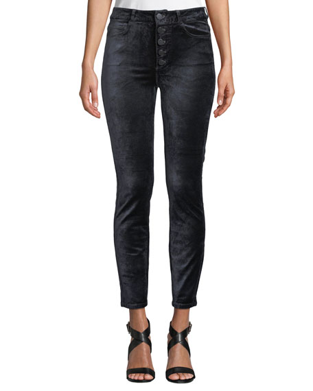 Hoxton Velvet Ankle Skinny Jeans With Button Fly, Charcoal