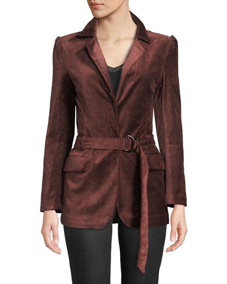 PAIGE Sorrenti Belted Velvet Blazer