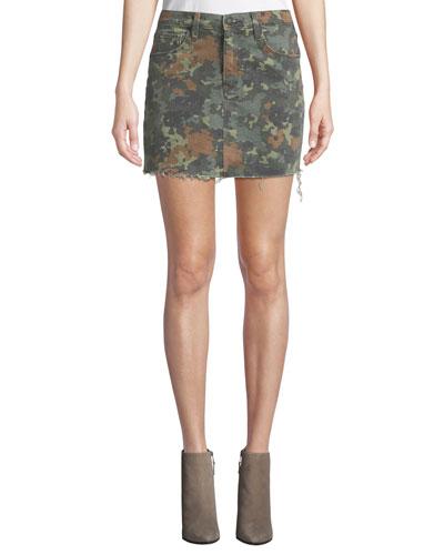 The Viper Camo Frayed Denim Mini Skirt