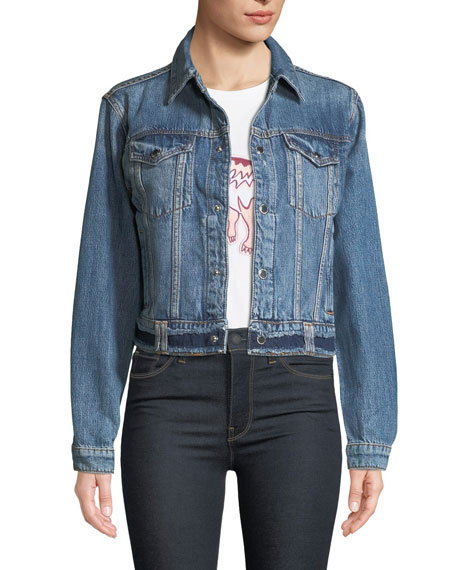 Cropped Snap-Front Denim Trucker Jacket, Temple