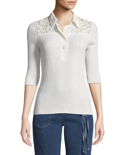 Collared Lace 3/4-Sleeve Button-Front Shirt