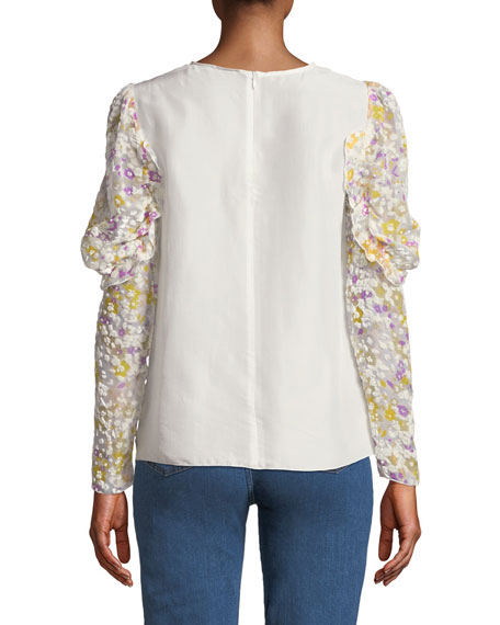 Floral Ruffle-Sleeve Crewneck Blouse