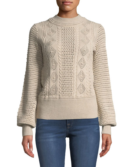 High-Neck Balloon-Sleeve Knit Pullover Sweater