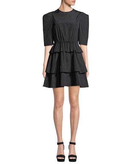 Strong-Shoulder Tiered Tie-Waist Mini Dress in Black