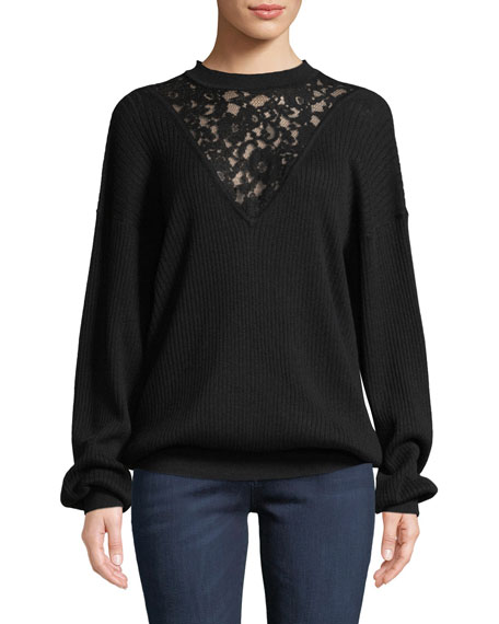 Long-Sleeve Wool Pullover Sweater with Lace Inset