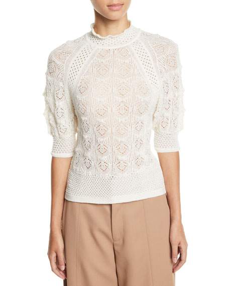Lace Knit High-Neck Short-Sleeve Sweater