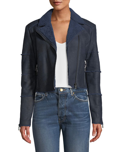 Aiah Cropped Leather Shearling Moto Jacket