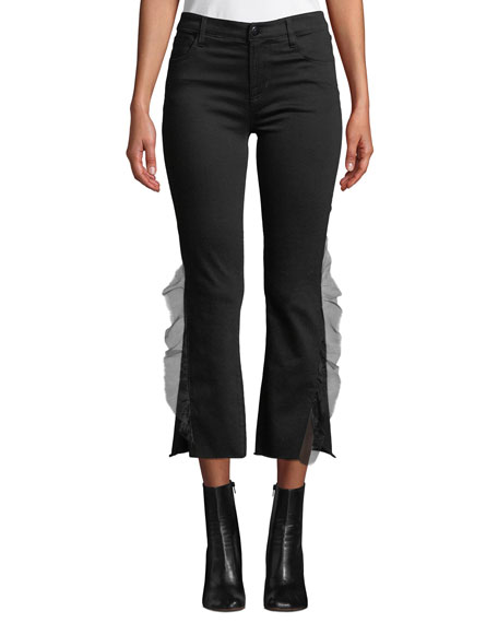 Selena Mid-Rise Cropped Ruffle Boot-Cut Jeans, Black