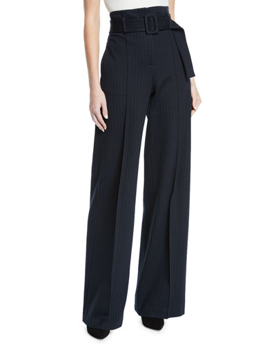 High-Waist Belted Pinstripe Pants