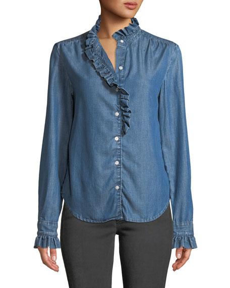 FRAME Ruffle Button-Front Denim Shirt