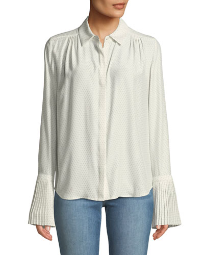 Pintucked-Cuffs Button-Front Long-Sleeve Dotted Silk Blouse