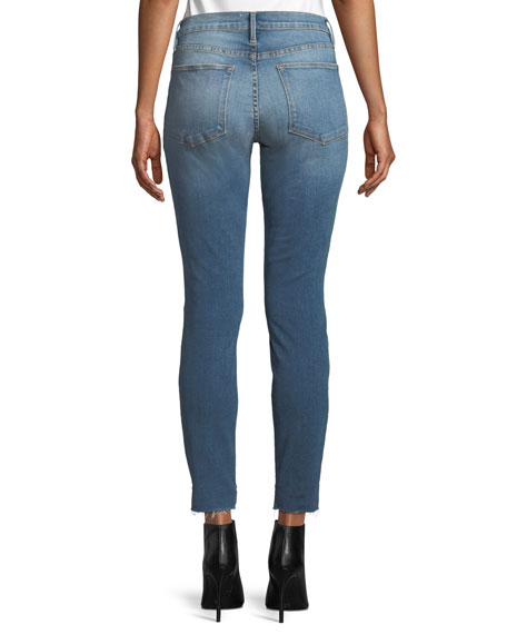 Le High Skinny-Leg Jeans w/ Raw Stagger Hem
