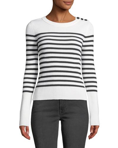 Button-Shoulder Striped Merino Wool Sweater