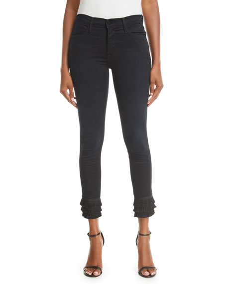 Le High Skinny  Jeans with Tiered Fringe Hem