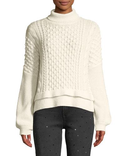 Nubby Turtleneck Wool-Blend Knit Sweater