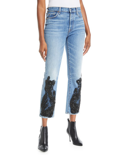 Edie Embellished Faded Straight-Leg Jeans