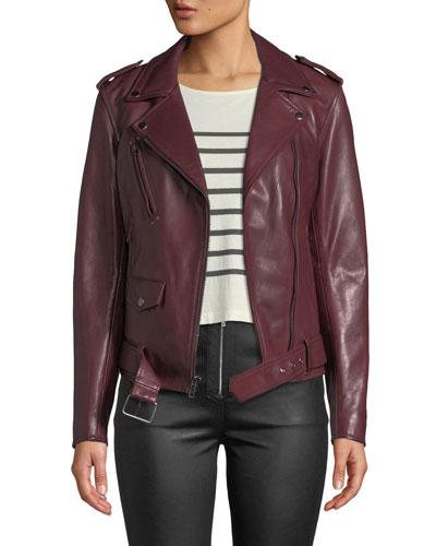 Zip-Front Leather Biker Jacket