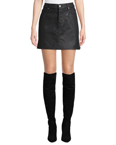 A-Line Coated Denim Mini Skirt