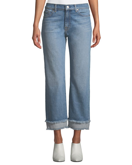 1355cf5e6a0 7 For All Mankind Alexa Wide-Leg Cropped Jeans w  Frayed Hem