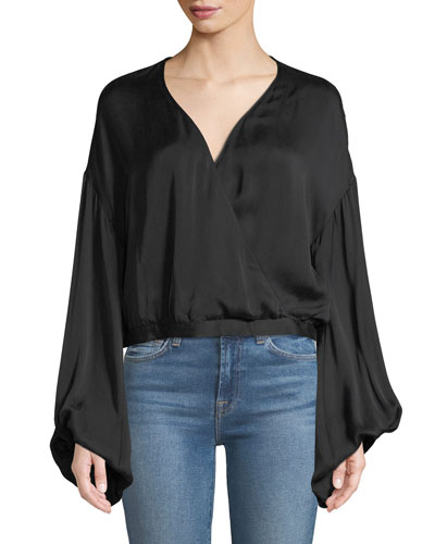Wrap-Front Oversized-Sleeve Cotton Woven Top