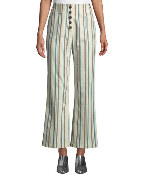 Button-Front Kick-Flare Striped Cotton Pants