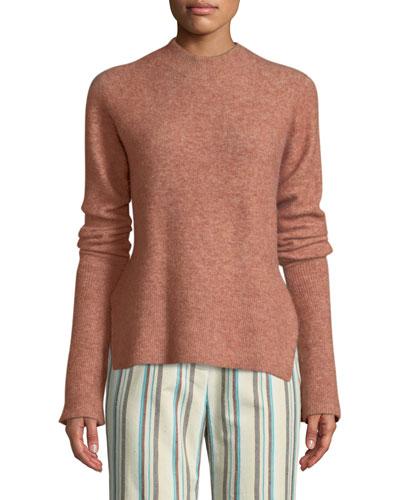 Long-Sleeve Lofty Rib Alpaca-Blend Pullover Sweater
