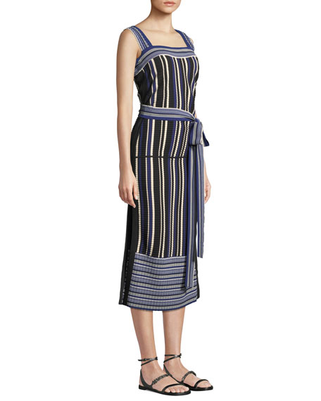 4c3e71b211f9 3.1 Phillip Lim Striped Tie-Front Sleeveless Midi Dress