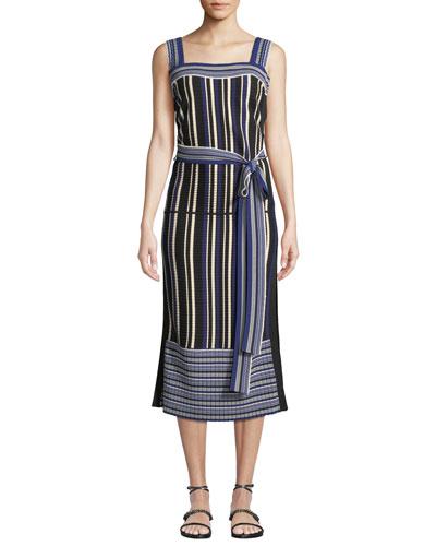 Striped Tie-Front Sleeveless Midi Dress