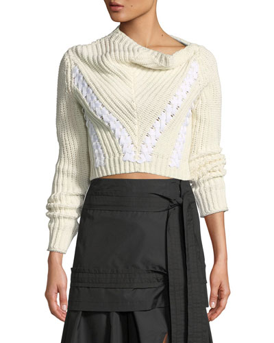 Drape-Neck Cropped Cotton Pullover Sweater