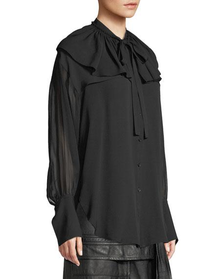 Silk Shirt W Ruffle Collar