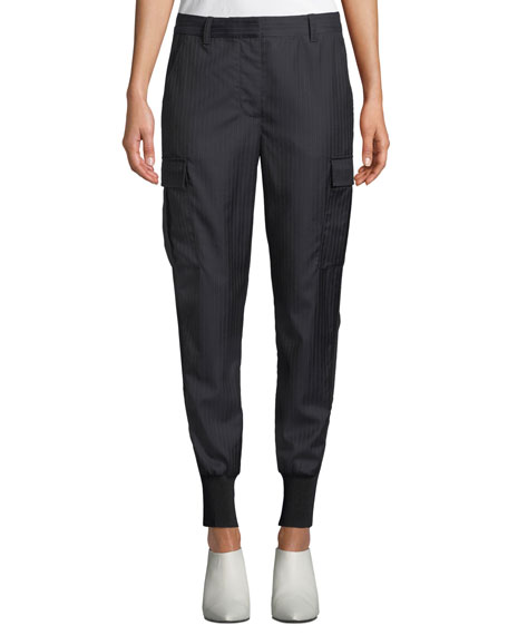 Pinstripe Jogger Pants With Cargo Pockets