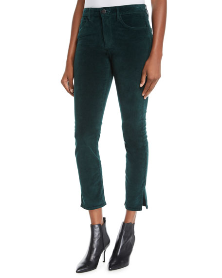 Higher Ground Cropped Corduroy Pants With Split Hem in Green