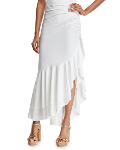 Odeta Asymmetric Flounce Coverup Skirt