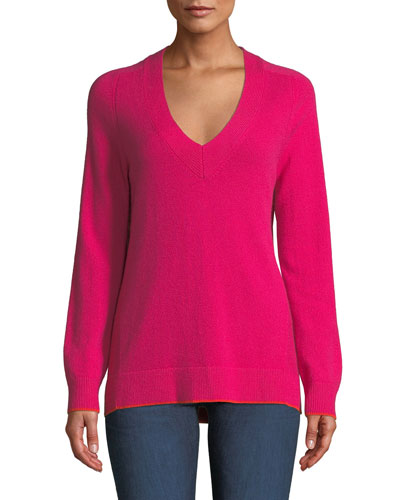 Yorke Cashmere V-Neck Sweater with Mesh Panels