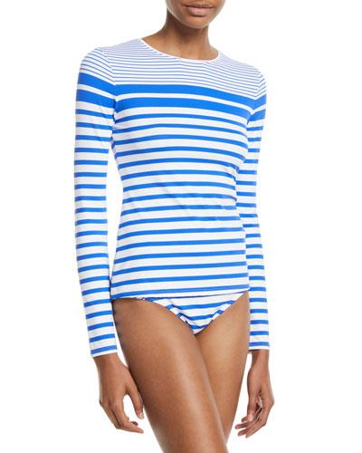 Beachglass Striped Swim Rashguard Shirt