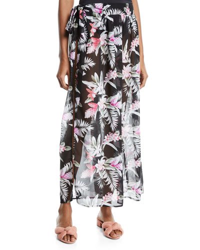 Gingerflower Side-Tie Sarong Coverup Skirt