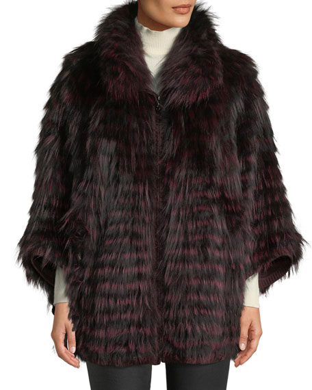 BELLE FARE Fox Fur Oversized Cape Coat in Wine