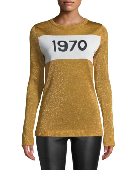 1970 Sparkle Graphic Sweater, Gold