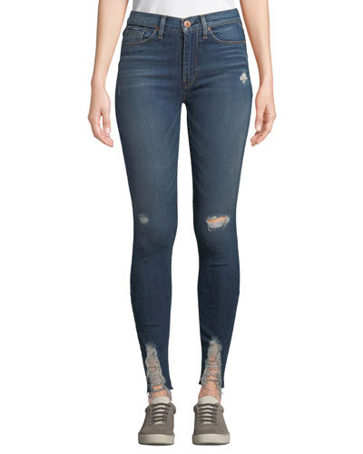 Barbara High-Waist Super Skinny Destroyed Ankle Jeans
