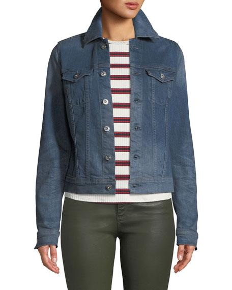 AG Robyn Button-Front Denim Trucker Jacket in Ephemeral