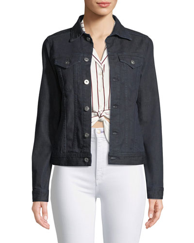 May Button-Front Denim Trucker Jacket